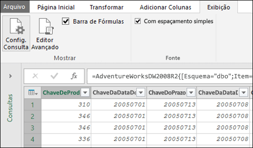 Power Query - Fonte com espaçamento uniforme para a Visualização do Editor de Consultas