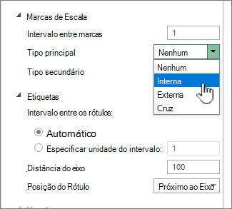Seção marca de escala e rótulos do painel Formatar eixo