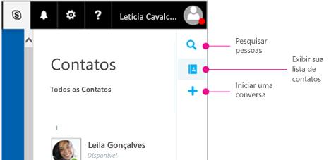 Barra lateral mostrando as opções disponíveis: Pesquisar pessoas, Exibir sua lista de contatos e Iniciar uma conversa