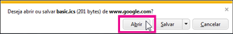 Google Calendar - abra o calendário no Internet Explorer