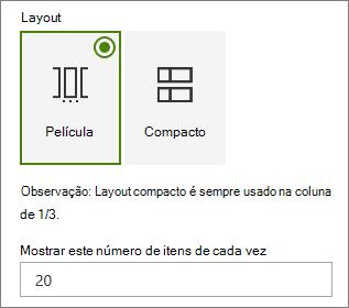 Seleção de layout no painel de propriedades da Web Part de eventos.