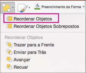 Reordenar Objetos no menu Organizar