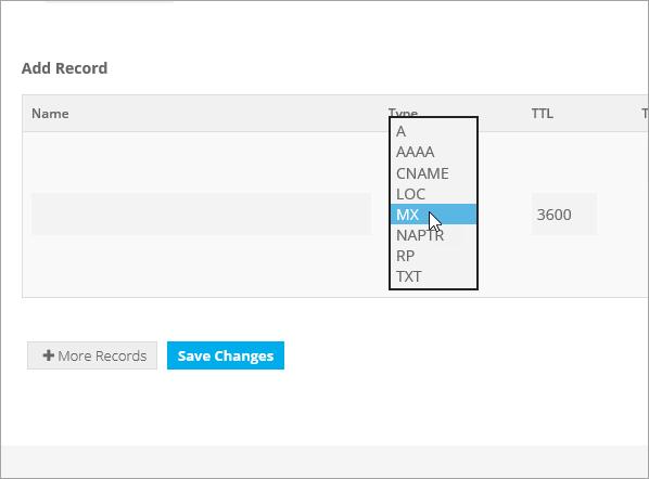 Tipo de Freenom adicionar registro MX_C3_2017530144524
