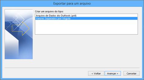 Assistente de exportação do Outlook: escolher arquivo CSV