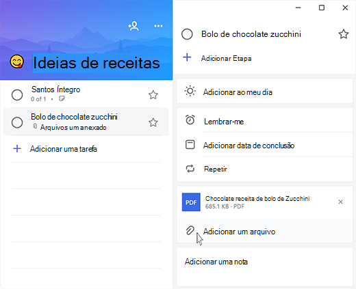 Captura de tela do Microsoft to-do com o modo de exibição de detalhes abrir e a opção para adicionar um arquivo realçado