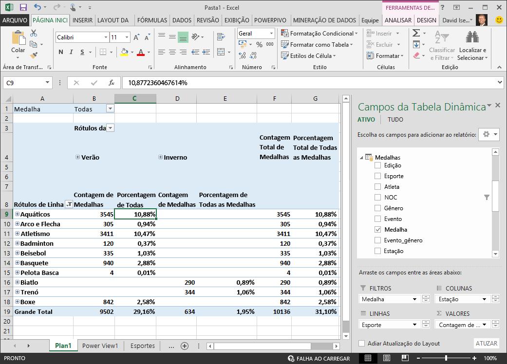 Tabela dinâmica exibe PivotTable dados de porcentagem