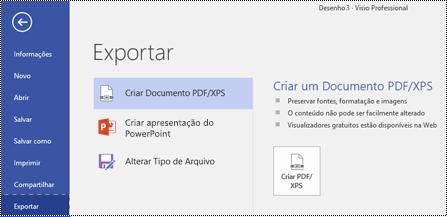 Opção Exportar para PDF na guia arquivo do Visio.