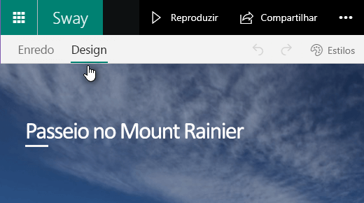 Clique na guia Design para visualizar o Sway atual