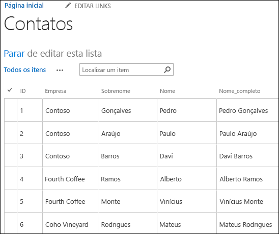 Lista do SharePoint com seis registros de contatos exibidos