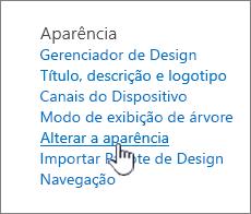 Seção aparência e funcionalidade do site com alterar a aparência realçada