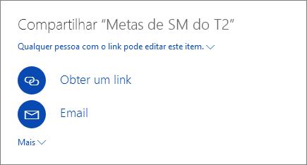 Captura de tela mostrando como compartilhar um arquivo no OneDrive