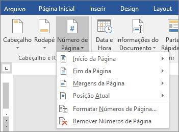 As opções de número de página são mostradas em uma lista.