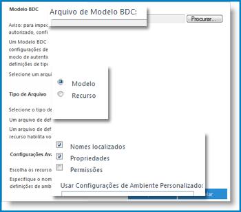 Captura de tela da exibição Modelo BCS.
