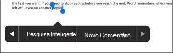 Toque em Novo Comentário após selecionar o texto no Word