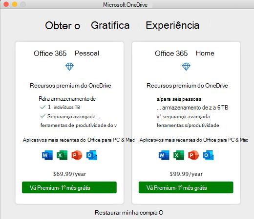 Captura de tela do OneDrive obter a caixa de diálogo experiência Premium