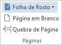 Na guia INSERIR, clique em Folha de Rosto.
