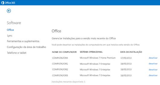 Gerenciando instalações ativas do Office 365