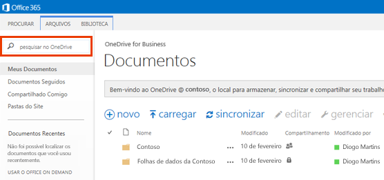 Captura de tela da Caixa de Consulta do OneDrive no Office 365.