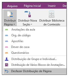 Captura de tela de como desfazer uma distribuição de página no suplemento Criador de Bloco de Anotações de Classe.