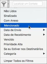 Use Mentioned no menu Filtrar Email para pesquisar emails onde você está @ mencionou