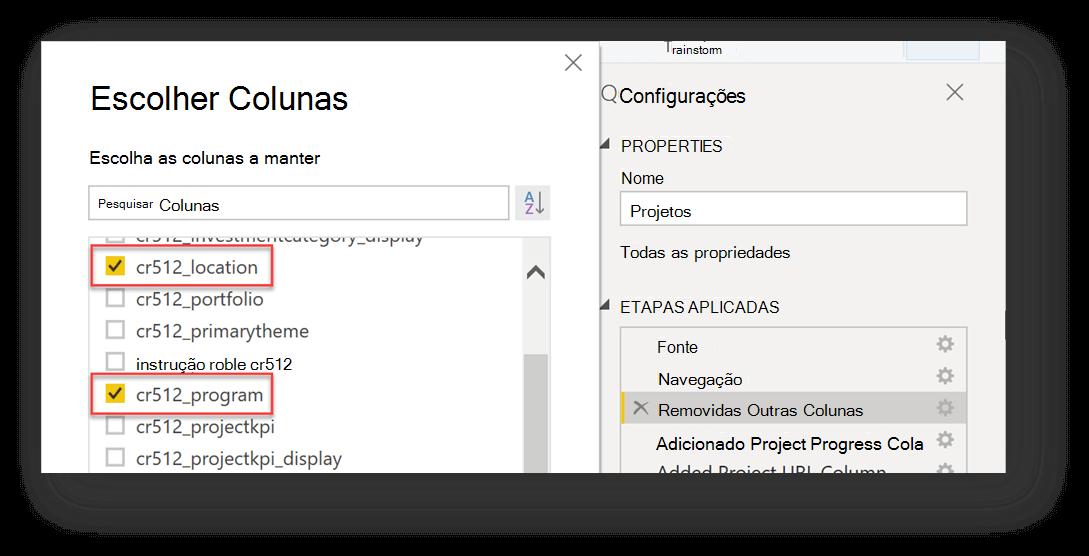 Este é um exemplo de como escolher colunas para adicionar ao editor de consultas. As colunas que estão sendo adicionadas neste exemplo são chamadas cr512_location e cr512_program.