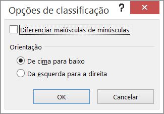 Na caixa de diálogo Classificar, clique em Opções
