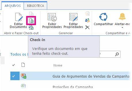 Check-in de um arquivo