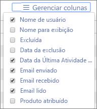 Relatórios do Office 365: gerenciam colunas para relatórios de atividade de email