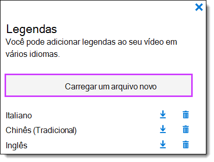 Lista de legendas de vídeo do Office 365
