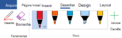 Ferramentas de escrita à tinta no Office 365