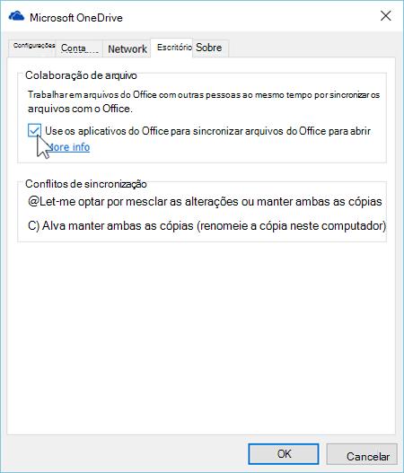 Captura de tela da guia Office em configurações do cliente de sincronização do OneDrive