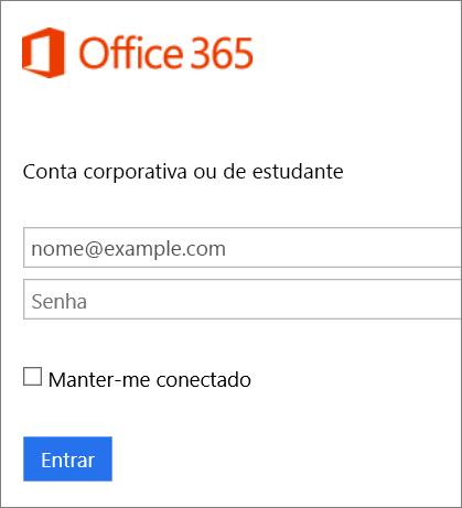 Captura de tela da página de entrada do Office 365.