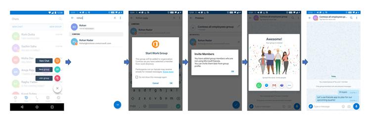 Imagens da interface do usuário do telefone da adição a um grupo de trabalho um usuário que não está no Kaizala.