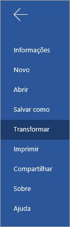 Botão Transformação para converter documentos do Word Online em um Sway