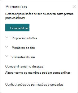 Painel permissões do site do SharePoint