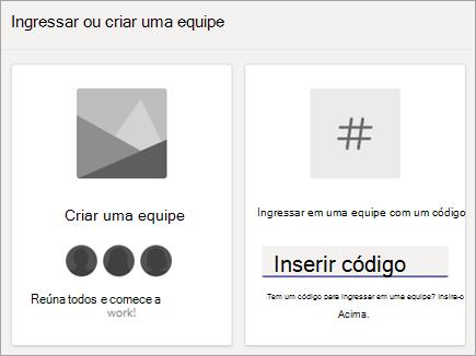 Inserir um código de equipe na equipe ingressar em uma equipe com um bloco de código