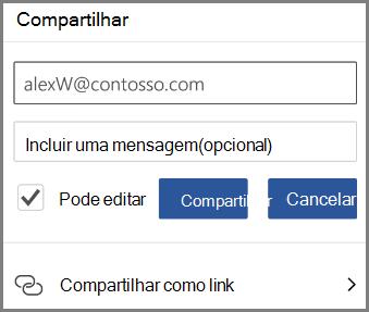 Mostrando o compartilhamento por email, insira o email e marque pode editar