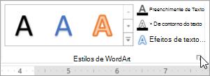 Selecionando o iniciador de caixa de diálogo Estilos de WordArt