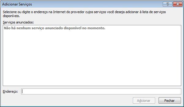 Captura de tela da caixa de diálogo Adicionar Serviços que faz parte das Opções de Pesquisa