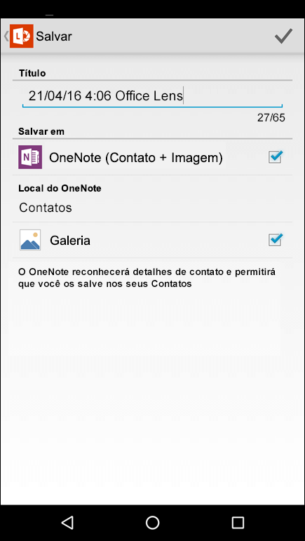 Captura de tela do recurso Exportar para contatos no Office Lens para Android.