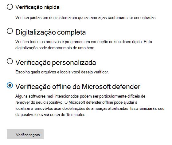 A caixa de diálogo Opções de verificação mostrando a verificação do Microsoft Defender Offline selecionada.