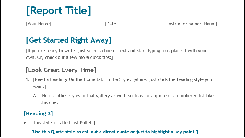captura de tela de um relatório de estudante simples