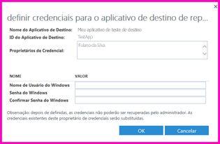 """Captura de tela da caixa de diálogo """"Definir credenciais para um Aplicativo de Destino do Repositório Seguro"""". Você pode usar esta caixa de diálogo para definir as credenciais de logon de uma fonte de dados externa"""
