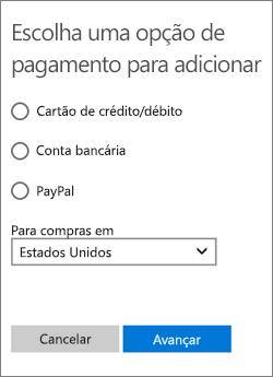 Menu Escolher uma opção de pagamento, mostrando as opções disponíveis para os EUA.