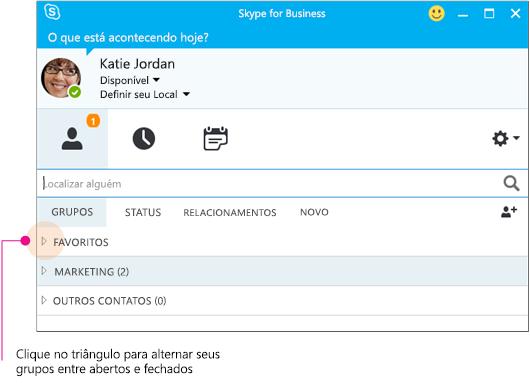Janela principal do Skype for Business, clique no triângulo para expandir ou recolher um grupo