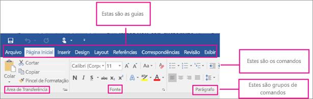 Uma imagem que mostra as partes de uma faixa de opções: guias, comandos, grupos de comandos