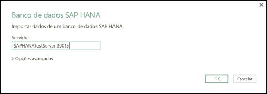 Caixa de diálogo banco de dados do SAP HANA