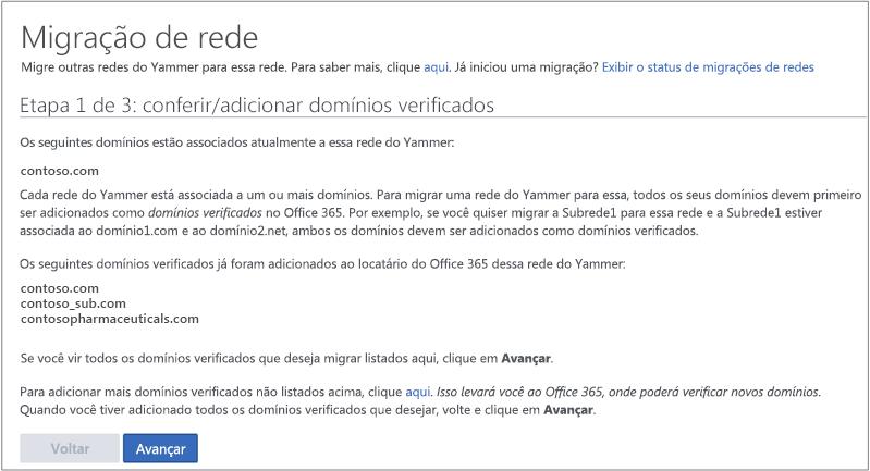 Captura de tela da Etapa 1 de 3: verificar/adicionar domínios verificados antes de migrar uma rede do Yammer