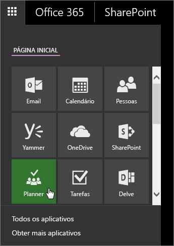 Captura de tela do painel de aplicativo do Office 365 com o bloco do Planner ativo.