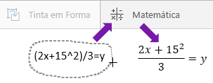 Mostra a equação digitada, o botão de matemática e a equação convertida